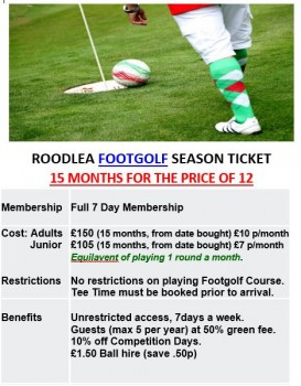 Footgolf season ticket